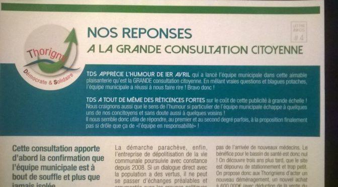 Lettre Infos # 4. Nos réponses à la (pas si grande) consultation citoyenne