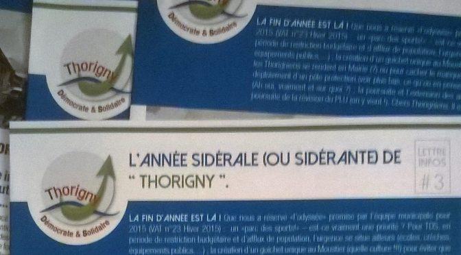 Lettre Infos # 3. L'année sidérale (ou sidérante) de «Thorigny»